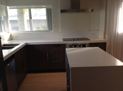 Absolute Blanc Quartz Counter Top with Brow Cabinets
