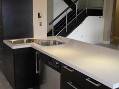 black Kitchen cabinet with white counters