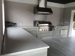 Outdoor White Quartz Counter Tops with Light Gray based